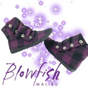Blowfish Malibu purple plaid ankle boots